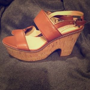 Coach Soft Milled Saddle Leather Wedge